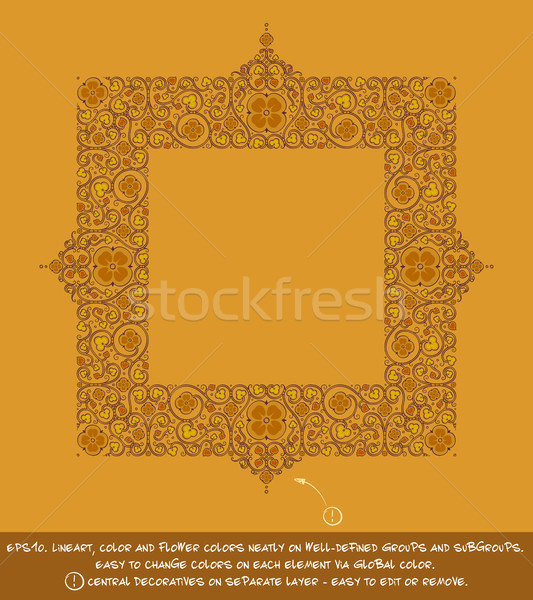 Square Flower Decorative Ornaments - Ochre Stock photo © nazlisart