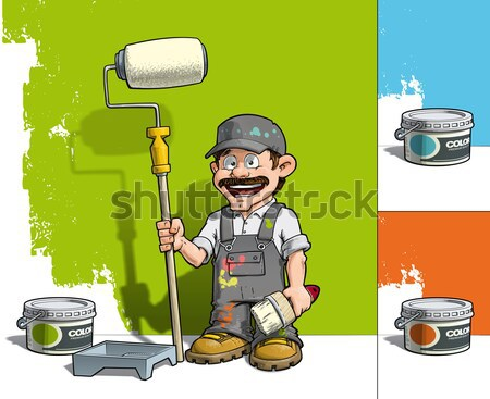 Foto stock: Manitas · pared · pintor · gris · Cartoon · ilustración
