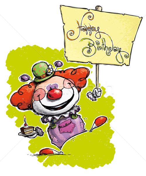 Clown Holding a Happy Birthday Placard Stock photo © nazlisart
