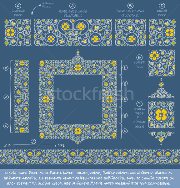 Flower Decorative Ornaments Building Kit - Yellow Cerulean Blue  Stock photo © nazlisart