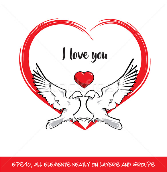 Love Birds I Love You Red Heart Stock photo © nazlisart