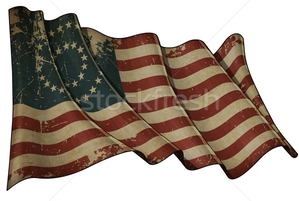 US Civil War Union -37 Star Medallion- Historic flag Stock photo © nazlisart