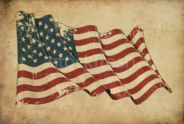 Amerikai grunge zászló mintázott tapéta kopott Stock fotó © nazlisart