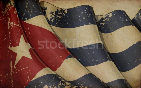 Kubai zászló régi papír illusztráció rozsdás nyomtatott Stock fotó © nazlisart