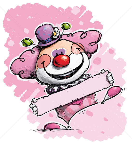 Clown Holding a Label - Girl Colors
