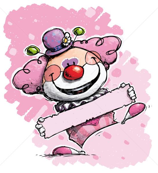 Clown Holding a Label - Girl Colors Stock photo © nazlisart