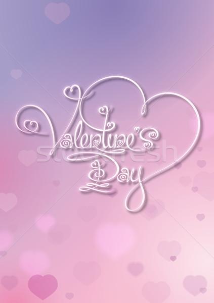 Valentin nap kártya valentin nap lila rózsaszín vám Stock fotó © nazlisart