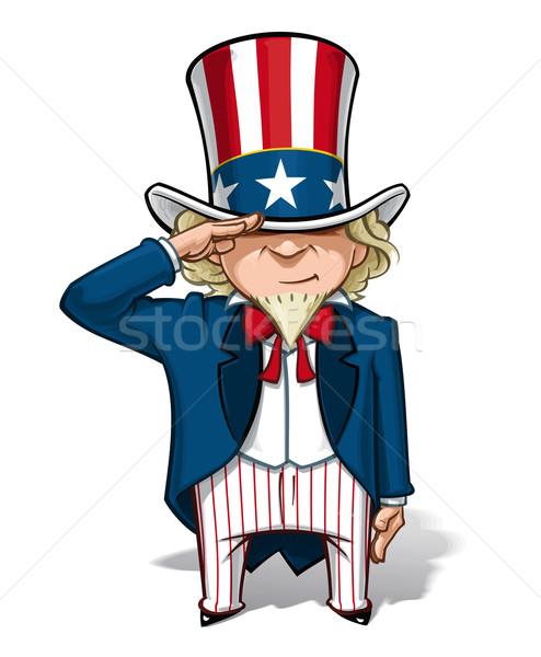 Tio vetor desenho animado ilustração sorrir estrelas Foto stock © nazlisart