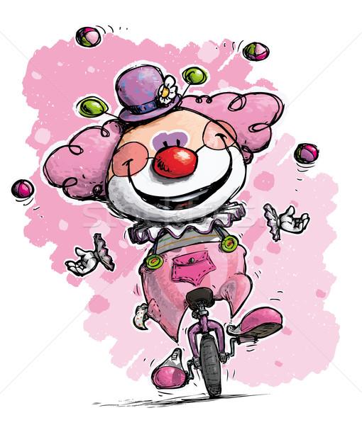 ピエロ 一輪車 ジャグリング 色 実例 少年 ストックフォト © nazlisart