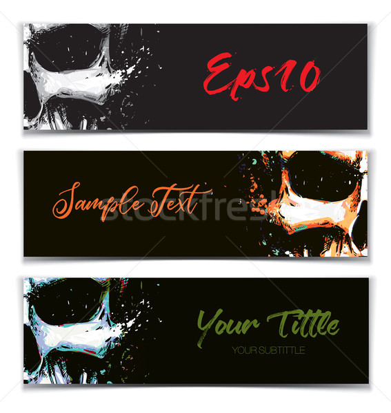 Skull Artistic Splatter Banners Black Orange Light Blue Stock photo © nazlisart