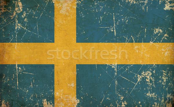Swedish Flag Flat Aged Stock photo © nazlisart