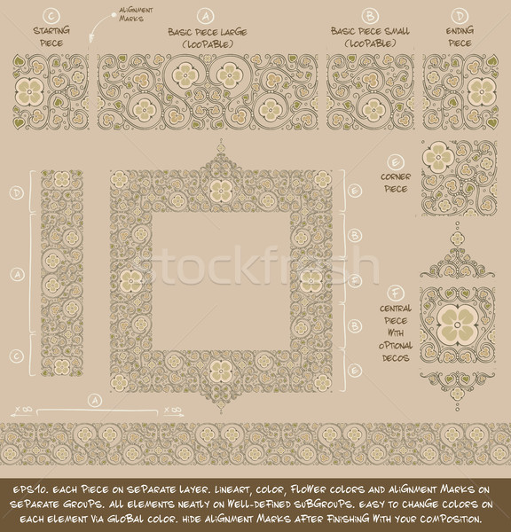 Flower Decorative Ornaments Building Kit - Tan Stock photo © nazlisart
