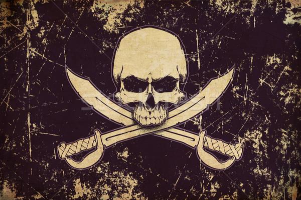 Kalózok koponya kardok kopott zászló illusztráció Stock fotó © nazlisart