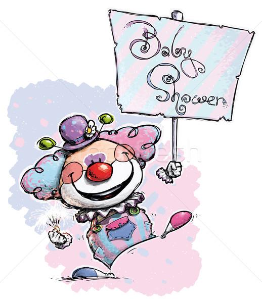 Clown Holding a Baby Shower Placard Stock photo © nazlisart