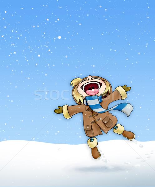 Girl in the Snow Brown Coat - Plain Background Stock photo © nazlisart