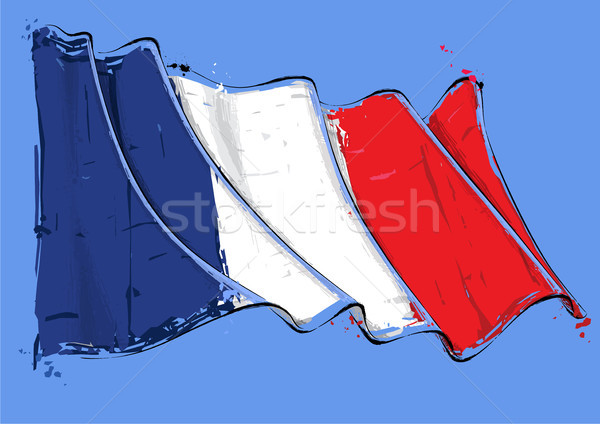 Francês artístico escove bandeira vetor Foto stock © nazlisart