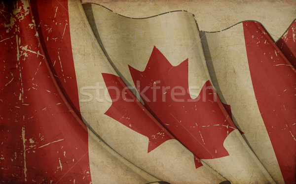 Canada Flag Old Paper Stock photo © nazlisart