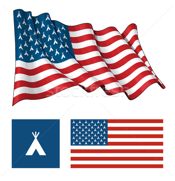 US Teepee Waving and Flat Flag Stock photo © nazlisart