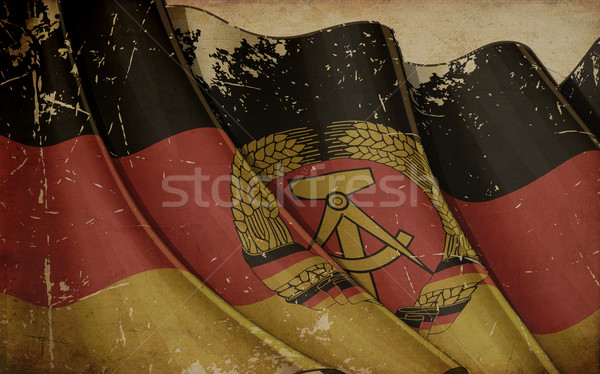 East Germany Flag Old Paper Stock photo © nazlisart