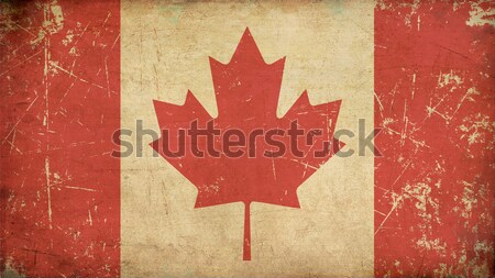 Canadian Aged Flat Flag Stock photo © nazlisart