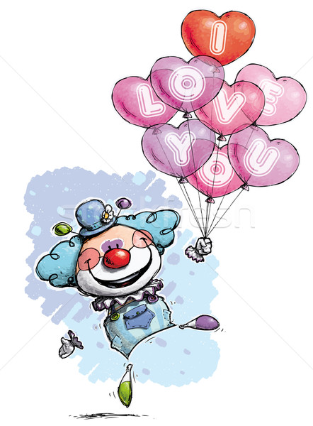 Clown with Heart Balloons Saying I Love You - Boy Colors Stock photo © nazlisart