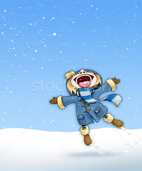 девушки снега синий пальто иллюстрация счастливым Сток-фото © nazlisart