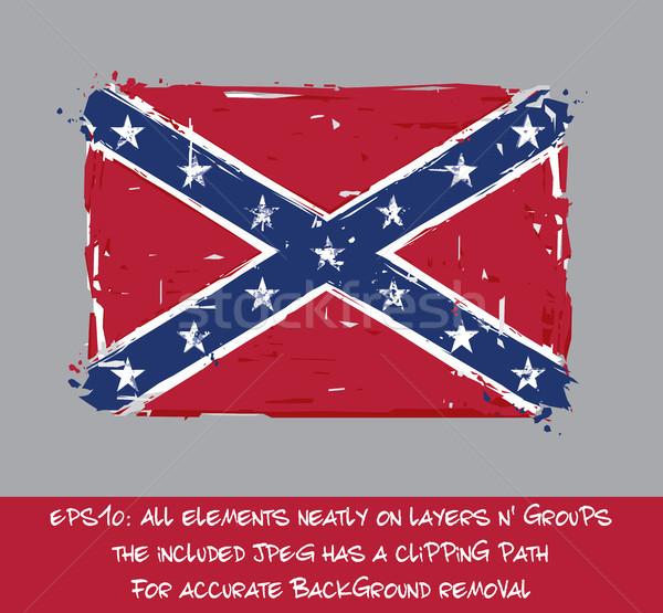 Confederate Rebel Flag Flat - Artistic Brush Strokes and Splashe Stock photo © nazlisart