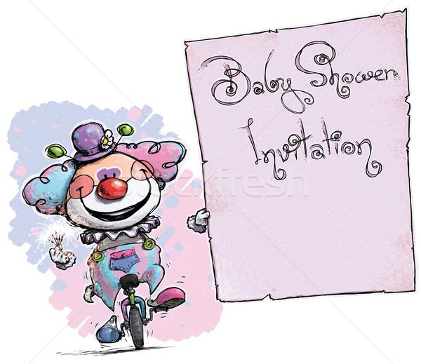 Clown on Unicycle Holding Invitation-Baby Shower Party Stock photo © nazlisart
