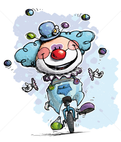 Clown on Unicycle Juggling Boy Colors Stock photo © nazlisart