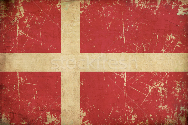 Danish Flag Flat Aged Stock photo © nazlisart