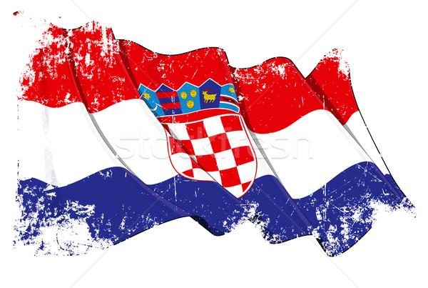 Bandera grunge ilustración rojo viento Foto stock © nazlisart