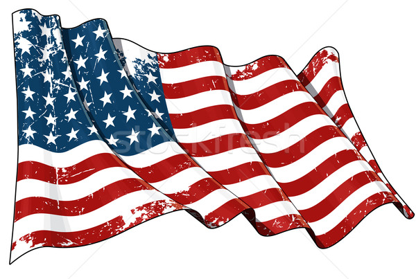 US Flag WWI-WWII (48 stars) Scratched Stock photo © nazlisart