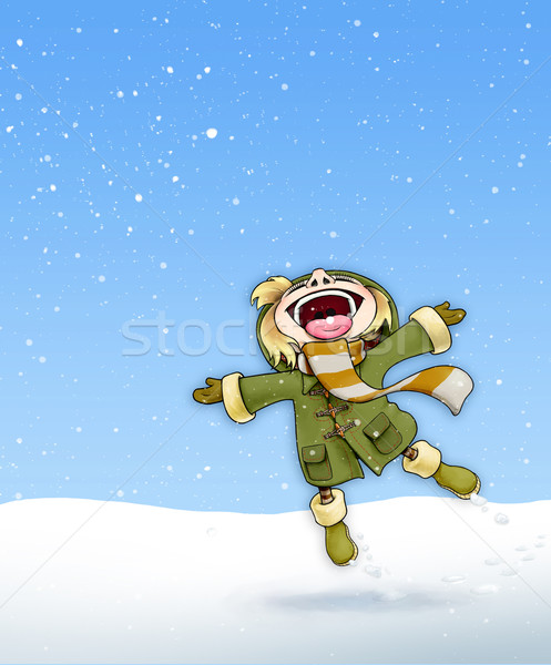девушки снега зеленый пальто иллюстрация счастливым Сток-фото © nazlisart
