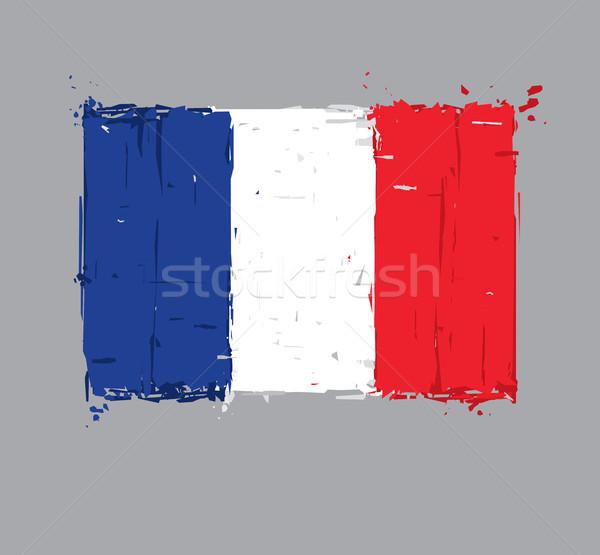 French Flag Flat - Artistic Brush Strokes and Splashes Stock photo © nazlisart