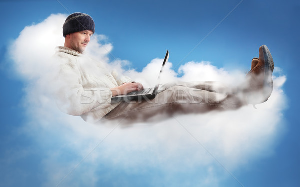 Man wolk laptop werknemers wolken Stockfoto © ndjohnston