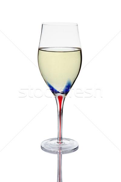 Beyaz şarap cam renkli kırmızı mavi kök Stok fotoğraf © ndjohnston