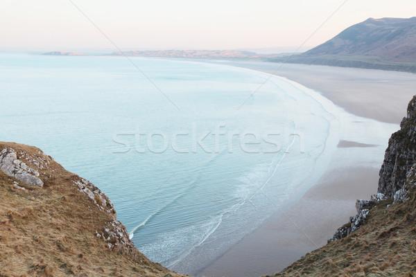 Rhossili Bay Stok fotoğraf © ndjohnston