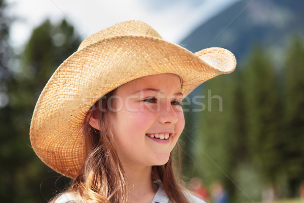Cowgirl laughing Stock photo © ndjohnston