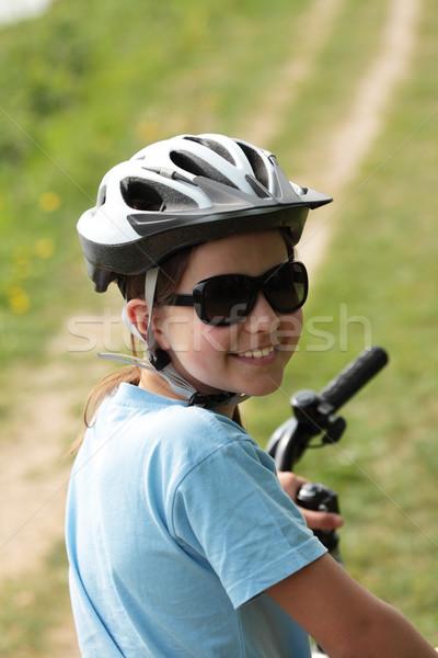 Güzel kız bisiklet genç kız yaz mutlu Stok fotoğraf © ndjohnston