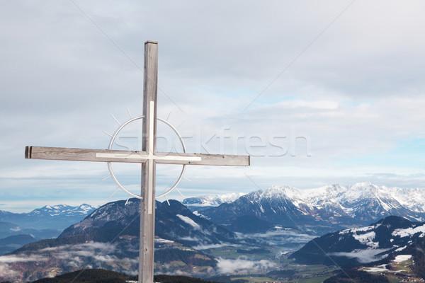 Kreuz Alpen Schnee Fotografie Österreich Stock foto © ndjohnston