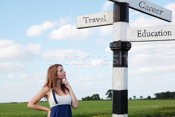 жизни красивая девушка дорожный знак путешествия карьеру Сток-фото © ndjohnston