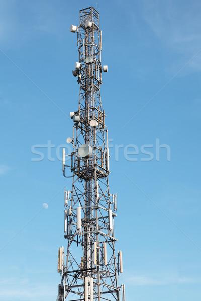 Kommunikation Turm blauer Himmel Tageslicht Mond Stock foto © ndjohnston