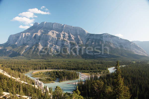 Hoodos with Bow river Stock photo © ndjohnston