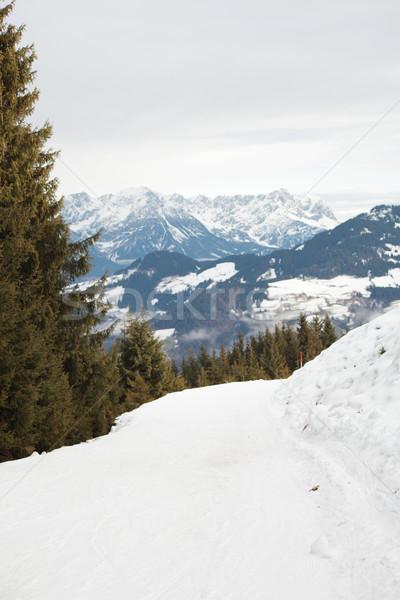 Blau laufen Schnee Berg Stock foto © ndjohnston