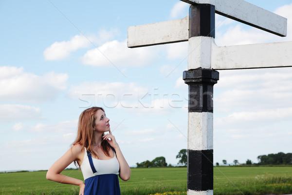 потеряли девушки глядя дорожный знак оказанный Сток-фото © ndjohnston