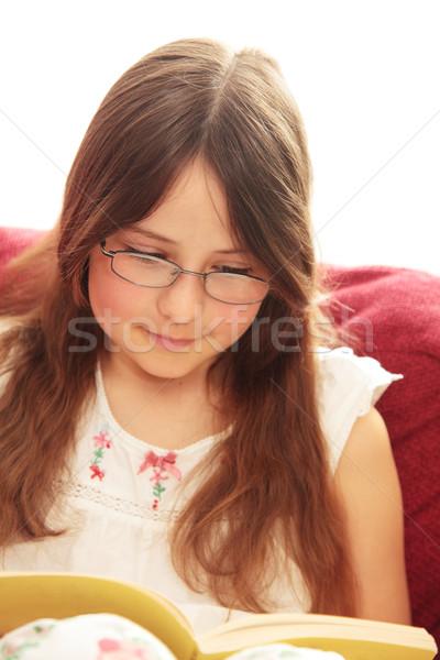 чтение довольно девушки Сток-фото © ndjohnston