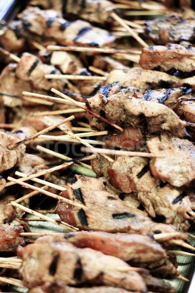 Barbekü tavuk domuz eti et pişirme öğle yemeği Stok fotoğraf © neillangan
