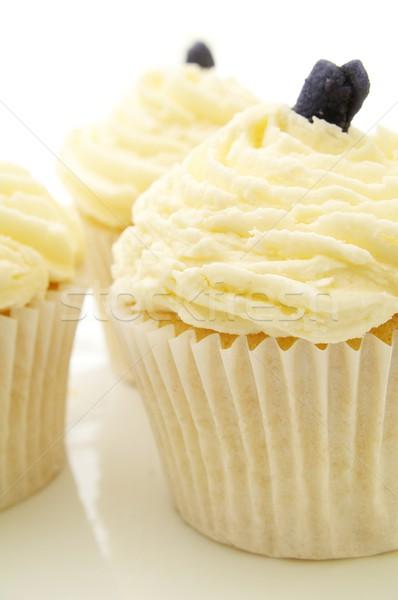 Dekore edilmiş fincan kekler yaz beyaz tatlı Stok fotoğraf © neillangan
