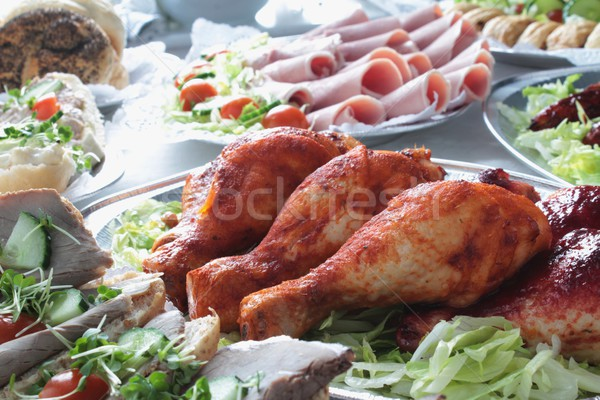 Buffet alimentaire traditionnel table mariage poulet Photo stock © neillangan