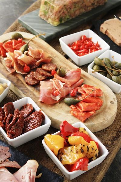 Antipasti étel asztal paradicsom ebéd friss Stock fotó © neillangan